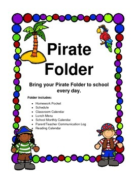 Homework Folder Pirate Theme