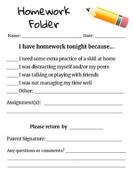Homework Folder Sheet