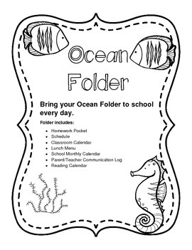 Homework Folder Sheets Ocean Theme