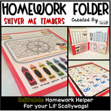 Homework Folder Editable - Pirate Theme {Shiver Me Timbers}