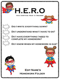 Homework Folder - Superhero Theme
