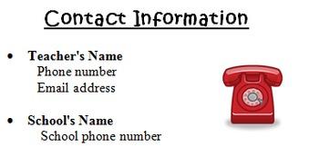 Homework Folder Teacher Contact Information Label