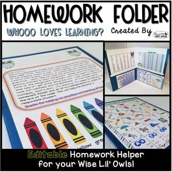 Homework Folder Editable - Owl Theme      {Whooo Loves Learning}