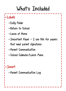 Homework Folder and Communication Log
