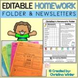 Homework Folder and Newsletter Template - EDITABLE