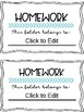 Editable Homework Folder Covers and Labels