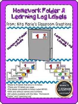 Homework Folder and Learning Log Labels (Editable)