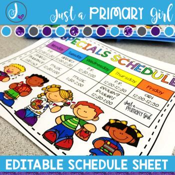 Editable Schedule Sheet