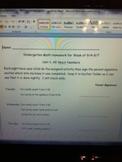 Homework For Numbers 1-10 Week 2