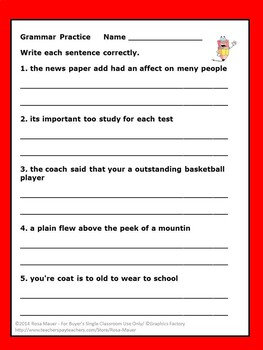 Sentences Grammar Task Cards