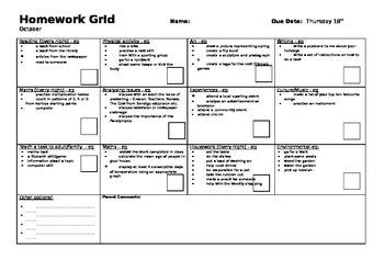 Homework Grid