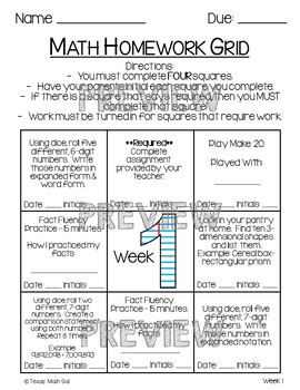 Homework Grid Weeks 1-5