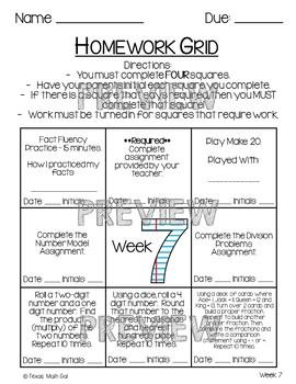 Homework Grid Weeks 6-10