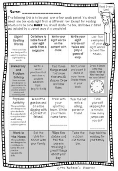 Homework Grid Year 1