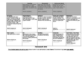 Homework Grid- editable