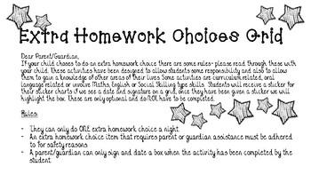 Homework Grid for Extra Choice Homework
