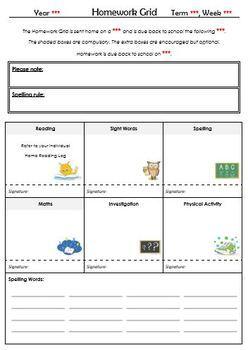 Homework Grids / Templates (Editable)
