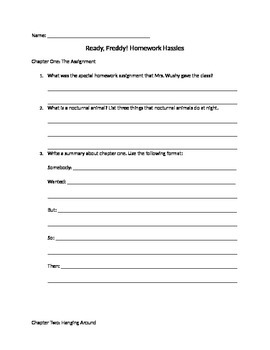 ready freddy homework hassles comprehension questions