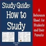 STUDY GUIDE: How To Study Reference Sheet