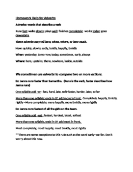 Homework Help for Adjectives and Adverbs