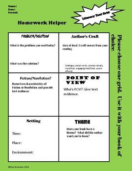 Homework Helper/Literary Text Grid