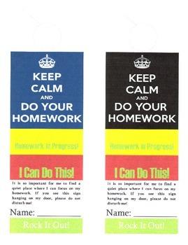 Motivational Homework Helper Doorhangers for Students
