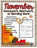 Homework, Seat Work, or Morning Work for November