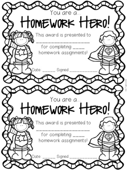 Superhero Homework Awards