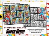 "Superhero themed ""Homework Hero"" Incentive Punch Cards"