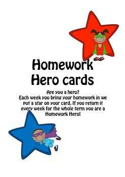 Homework Hero Star Cards for Homework Classroom Management and Rewards