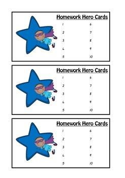 Homework Hero Star Cards for Homework Classroom Management and Rewards