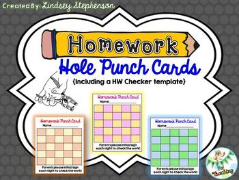 Homework Hole Punch Cards and HW Checker Template