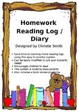Homework - Home Reading Log / Diary Kindergarten Year 1, 2, 3, 4, 5 & 6