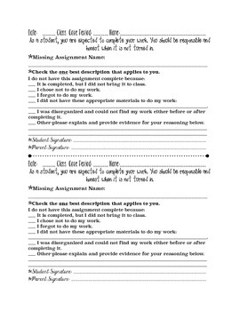 Homework Honest & Responsible Form