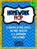 Homework Hop - Free Choice Monthly Homework Calendars - 4th Grade