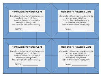 Homework Incentive - Complete 10 get HW Pass