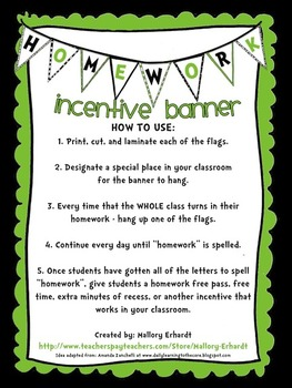 Homework Incentive (Green, Black, and White)