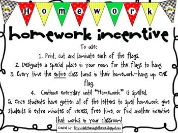 Homework Incentive (Race Car Theme)