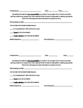 Homework Incomplete Form