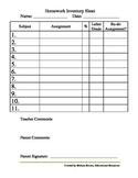 Homework Inventory Sheet
