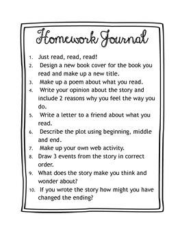 Homework Journal Activities