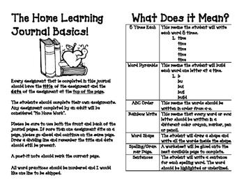 Homework Journal Word Work Directions