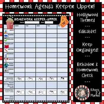 "Hollywood/Movie Theme ""Editable Homework Keeper-Upper and Behavior Check"""