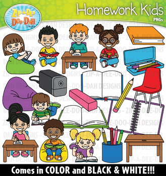 Homework Kids Clipart {Zip-A-Dee-Doo-Dah Designs}