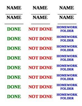 Homework Labels