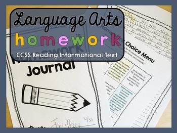 Homework - Informational Texts - Language Arts