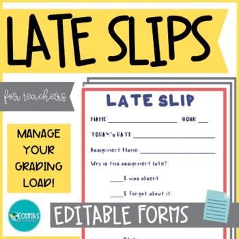 Homework Late Slips - for all grades!