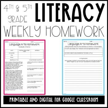 Homework (Literacy 4th Grade-Entire Year)
