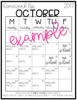 Homework Log Calendars [fully editable!]
