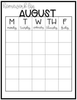 Homework Log Calendars [fully editable!]